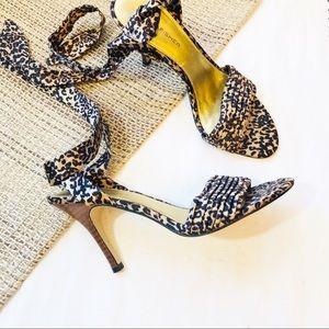 Marc Fisher Filia leopard print ankle tie sandals
